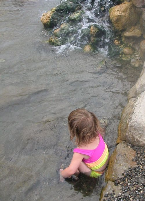 Kate relaxes in the Boiling River